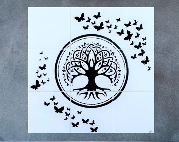 Black and White Tiles, Tree of Life Wall Art, Handmade, Backsplash, CUSTOM SIZES.
