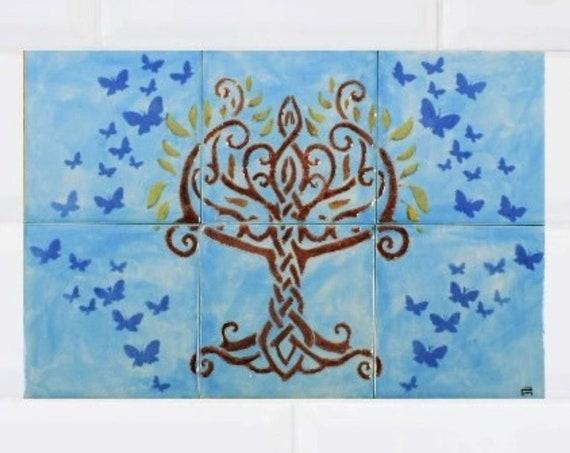 Tile mural, Celtic Tree of Life Handmade, Backsplash Tile, Sink Splashback, Hand painted tile.