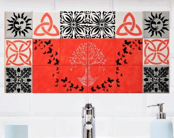 Wall Tiles for Kitchen, Fireplace Tiles, Tree of Life Wall Art, CUSTOM SIZES.