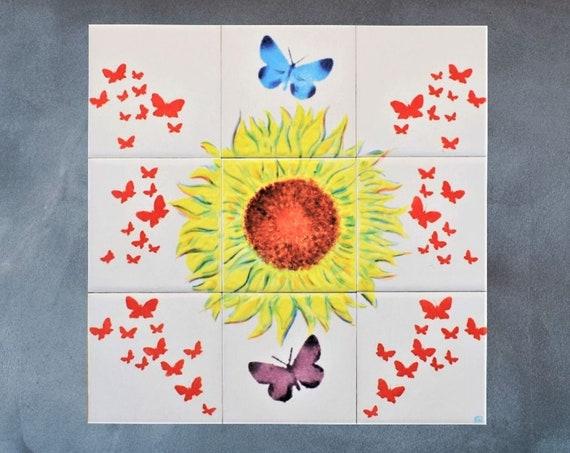 Sunflower Art, Kitchen Backsplash Ideas, Handmade, CUSTOM SIZES.