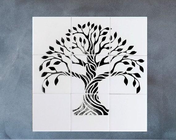 Stove backsplash, Backsplash Tile, Tree of Life Handmade, Splashback for kitchens.