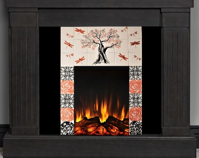 Fireplace tiles, Hand painted, tile mural, Custom Fireplace, Tree of Life Handmade, CUSTOM SIZES AVAILABLE