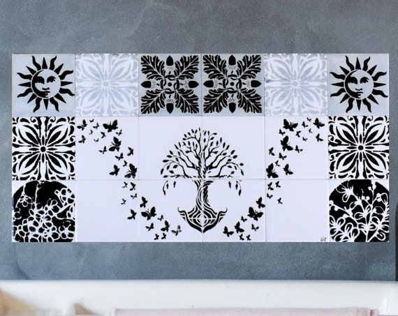 Kitchen Splashback, Hand Painted Tile, Tile Mural, Tree of Life Handmade, backsplash tile.