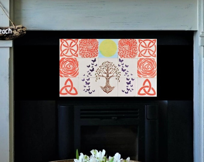 Fireplace tiles, Hand Painted, Tile mural, Backsplash, Tree of Life Handmade, Wall decor, CUSTOM SIZES AVAILABLE.