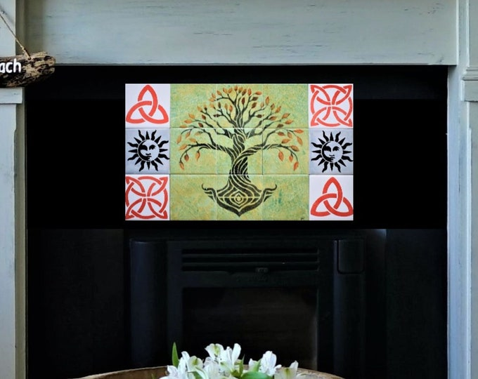 Fireplace tiles, Hand painted, Backsplash, tile mural, Country Modern Decor, Tree of Life Handmade, CUSTOM SIZES AVAILABLE