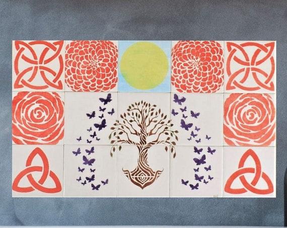 Tile mural, Tree of Life Handmade, Kitchen Tile Splashback, Fireplace Tiles, CUSTOM SIZES.