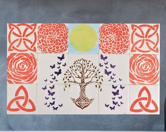 Kitchen Tile Splashback, Tree of Life Wall Art, Free Shipping, CUSTOM SIZES.