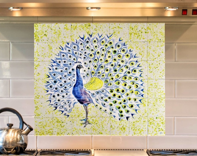 Kitchen Backsplash, Hand Paint Tiles, Peacock, Tile Mural, Wall decor, CUSTOM SIZES AVAILABLE. 28in x 24in.