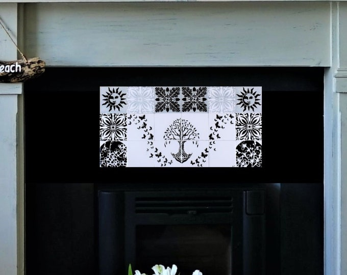 Fireplace tiles, Hand painted, tile mural, Backsplash, Tree of Life Handmade, CUSTOM SIZES AVAILABLE