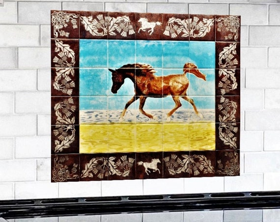 Backsplash Mural, Hand painted tiles, Arabian Horse, Tiles, Splashback.