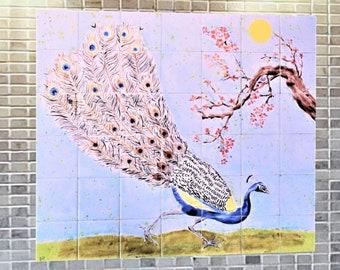 Kitchen Backplash, behind the Stove, Hand Paint Tile, DIY, Handmade Tile, Tile Mural.
