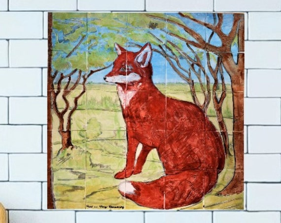 Backsplash Tile, Fox, Custom Tile mural, Splashback for kitchens, hand painted tile.***We Can Also Do Any Size or Design For You***