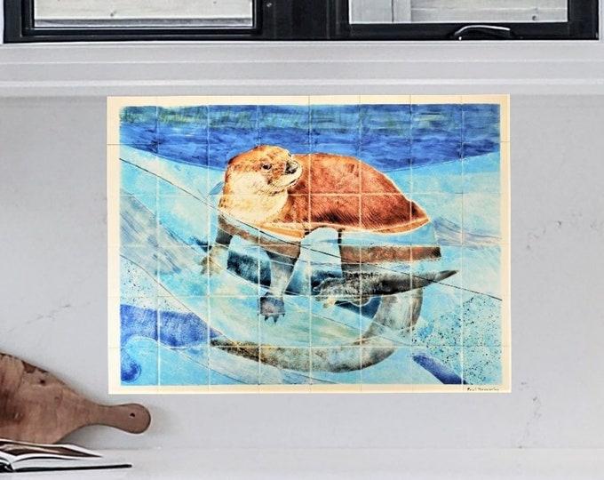 Backsplash mural, Hand painted tiles, Otter, Wall decor, Splashback, CUSTOM SIZES AVAILABLE. 32in x 24in.