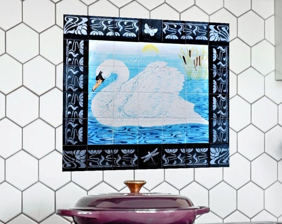 Kitchen Backsplash, Swan with Border, Custom Tile Mural, Handmade, Splashback.