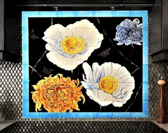 Backsplash tile kitchen, Hand painted, Tile mural, Home decor, CUSTOM SIZES.