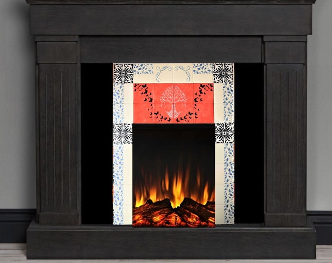 Fireplace Tiles, Handmade, Tree of Life, Custom Fireplace, Ceramic Tile, CUSTOM SIZES AVAILABLE.