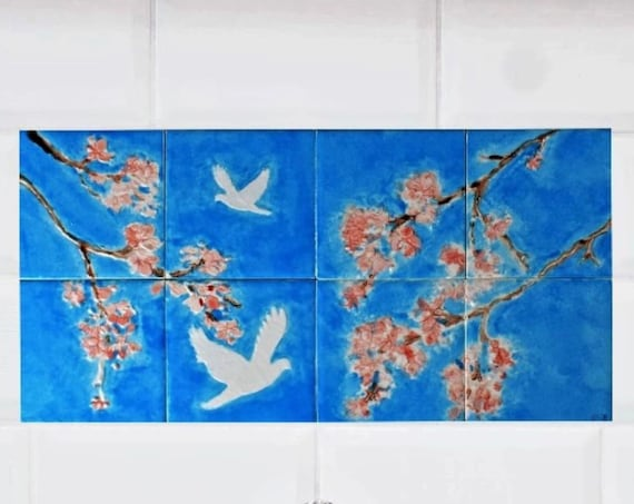 Decorative tiles, Backsplash, Cherry Blossom, Wall decor, custom sizes available.