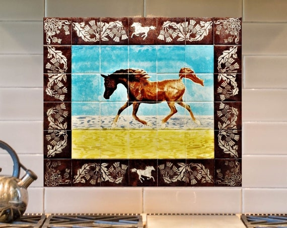 Kitchen Backsplash, Hand painted tiles, Arabian Horse, Splashback, CUSTOM SIZES.