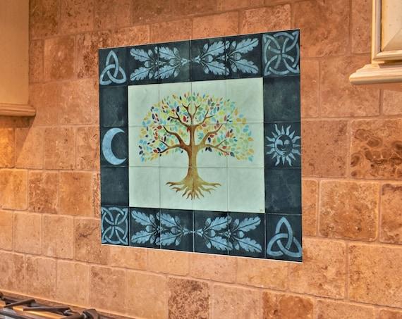Tree of Life, Grey, Tile mural, Backsplash tile, Hand painted tile, Splashback for kitchens.