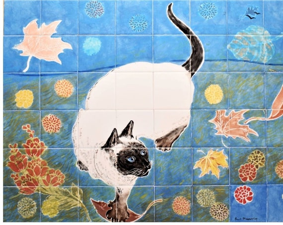 Kitchen Backsplash Tile, Cat, Hand painted tiles, Wall decor, Custom sizes available.
