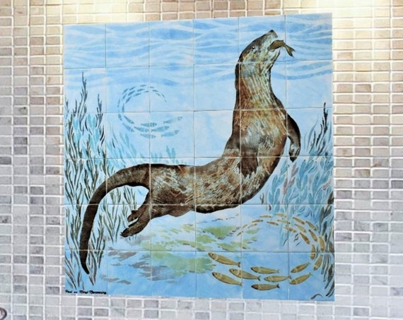 Backsplash Tile, Otter, Custom Tile mural, Splashback for kitchens, ***We Can Also Do Any Size or Design For You***