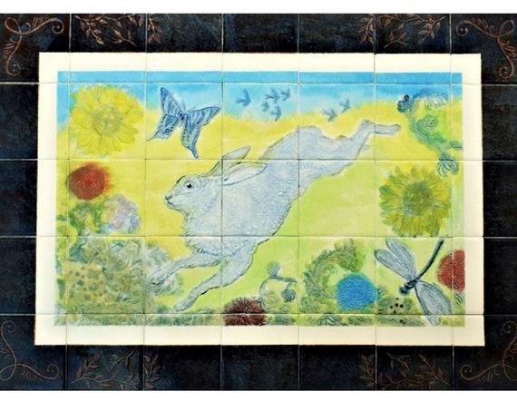 Stove Backsplash, Hand Painted Tile, Backsplash, Wall Tile, Kitchen Splashback, Tile mural.