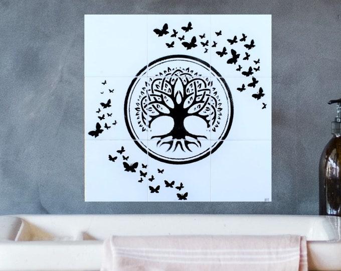 Back splash tile, Tile mural, Tree of Life Wall art, Butterfly, Hand painted, splashback, 12in x 12in.