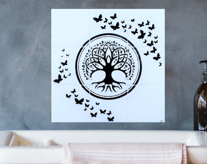 Backsplash, Tile mural, Tree of Life Wall art, Butterfly, Hand painted, splashback, 12in x 12in.