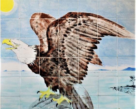 Backsplash, American Eagle, Hand painted tile, Splashback for Kitchens, Tile Mural.