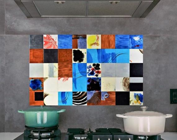 Backsplash, Hand painted tile, Tile Mural, Modern, Splashback for kitchens, Backsplash tile.