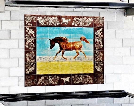 Stove backsplash, Hand Painted Tile, Kitchen Backsplash Idea, Splashback, Horse.