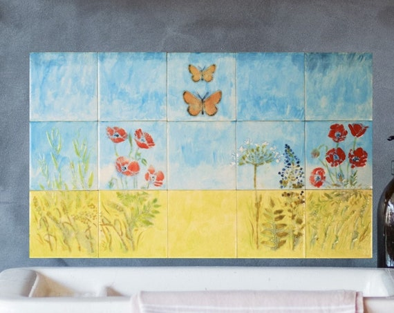 Backsplash, Hand painted tile, Splashback for kitchens, Tile mural.