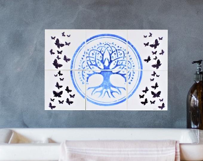 Kitchen Backsplash, Hand painted, Ceramic, Tile mural, Wall decor, custom sizes available