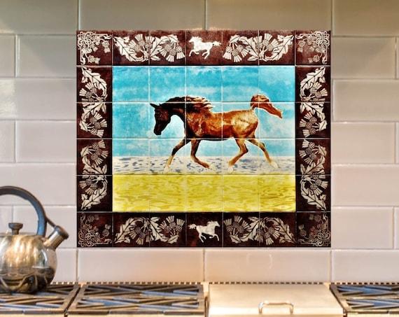 Stove backsplash, Hand Painted Tile, Backsplash, Kitchen Splashback, Horse.