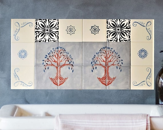 Backsplash Ideas, Hand Painted Tiles, Free Shipping, CUSTOM SIZES AVAILABLE. 24in x 12in.
