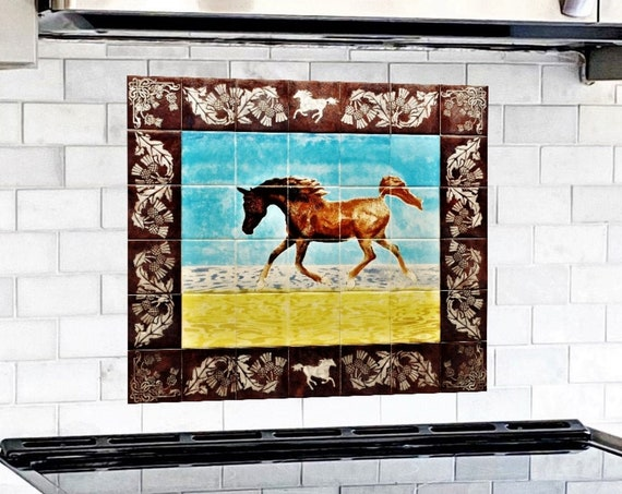 Kitchen Splashback, Hand painted tile, Tile Mural, Decorative Ceramic Wall Mural, backsplash.