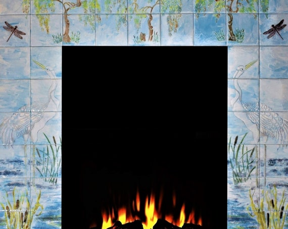 Fireplace Surround, Custom Tile, Ceramic painted tiles, Sky Blue, You can have any size or design.