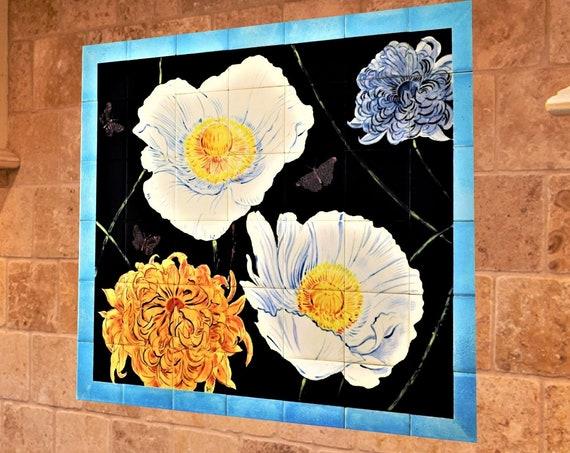 Backsplash, Flowers, Hand painted tile, Splashback for kitchens, Tile mural.