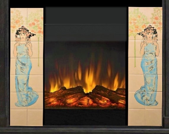 Fireplace Tile, Hand painted, fire surround, Ceramic Tiles.
