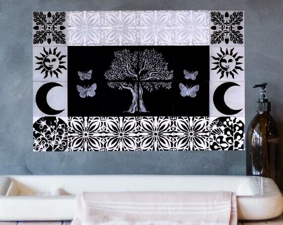 Kitchen backsplash tile, Black and White Tiles, Tree of Life Wall Art, CUSTOM SIZES.