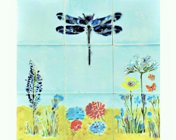 Backsplash ceramic tile, Hand painted tile, Splashback for kitchens, Tile mural, wall art