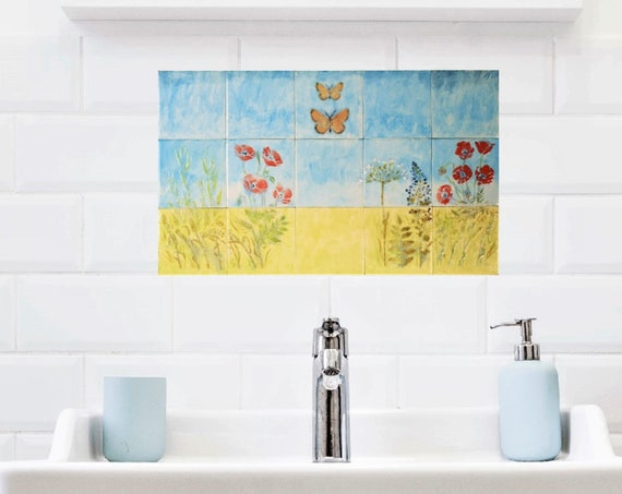 Backsplash tile, Hand painted tile, Splashback for kitchens, Tile mural.