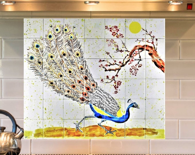 Backsplash, Hand Painted Tiles, Peacock, Splashback, CUSTOM SIZES AVAILABLE, 24in x 28in.