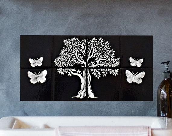 Backsplash, Hand painted, Tile mural, Tree of Life Handmade 100%, Splashback for kitchens.