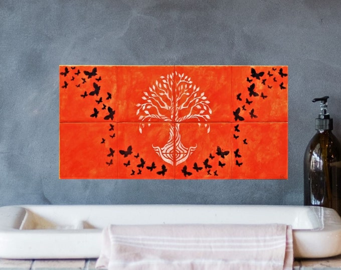 Tile mural, Tree of Life Handmade, Hand Paint Tiles, Wall decor, 8 tile set, CUSTOM SIZES AVAILABLE. 16in x 8in.