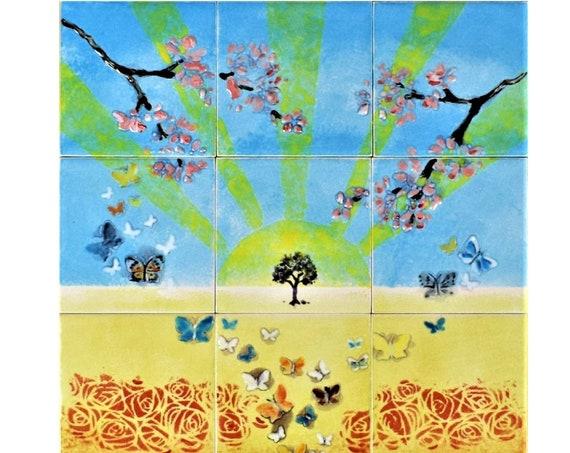 Stove backsplash, Backsplash tile, Hand painted tile, Splashback for kitchens, Tile Mural.