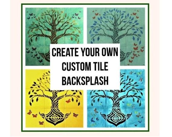 Custom Tile Mural, HANDMADE TO ORDER, Personalized Decor, Backsplash Mural, Fireplace, Bathroom.