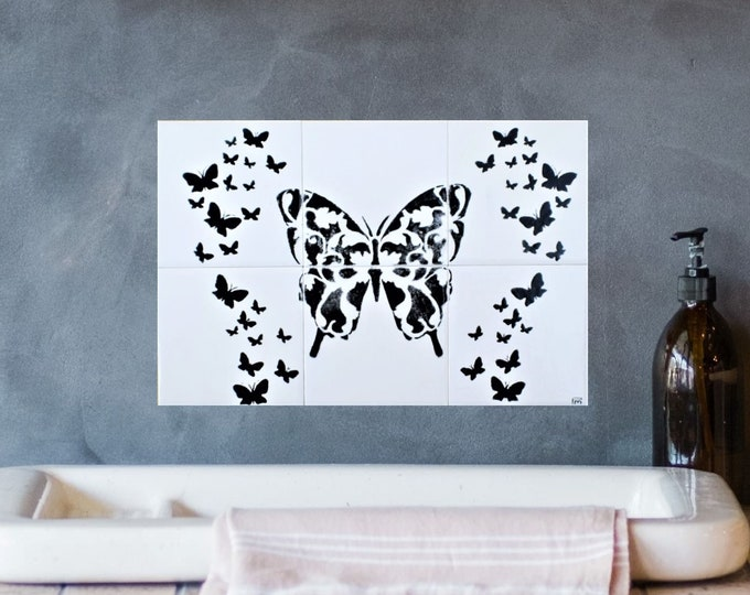 Backsplash, Tile mural , 12in x 8in, Hand painted, Butterfly wall art, custom sizes available.