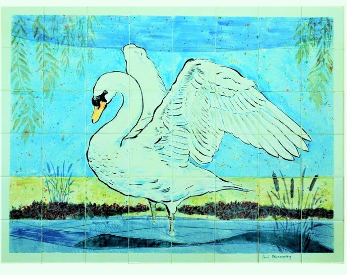Kitchen Splashback, Tile mural, Ceramic tiles , Wall decor, CUSTOM SIZES AVAILABLE. 32in x 24in.