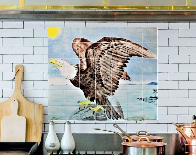Kitchen backsplash tile, Hand Painted Tiles, Bald Eagle, ceramic tile, CUSTOM SIZES AVAILABLE. 28in x 24in.